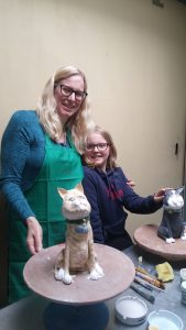 A glazing session following a ceramic pottery Cat workshop